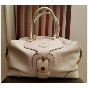Tod's Carey model ivory pebbled leather purse